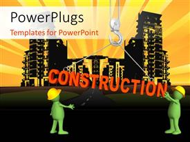 PowerPlugs: PowerPoint template with two green colored 3D characters with a text that spells out the word 'Construction '