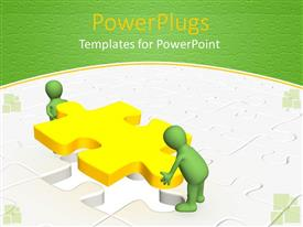 PowerPlugs: PowerPoint template with two green colored 3D human characters lifiting up a yellow puzzle