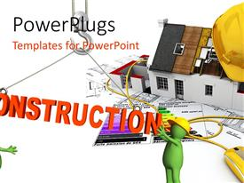 PowerPlugs: PowerPoint template with two green colored animated construction workers with the text construction