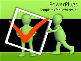 PowerPlugs: PowerPoint template with two green colored characters holding and pushing a check sign