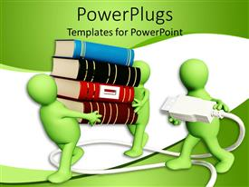 PowerPlugs: PowerPoint template with two green figures carrying a large stack of books, with a third figure carrying a power cord