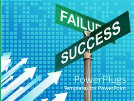 PowerPlugs: PowerPoint template with two green sign posts with the text Failure and Success