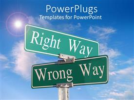 PowerPlugs: PowerPoint template with two green sign posts with white text on them