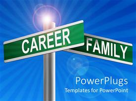 PowerPlugs: PowerPoint template with two green signs posts with a career family text on them