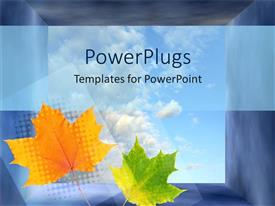 PowerPlugs: PowerPoint template with two green and yellow leaves with clouds in the background