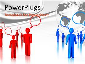 PowerPlugs: PowerPoint template with two groups of talking people, red 3D figures and blue 3D figures with transparent globe in background