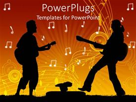 PowerPoint template displaying two guitarists playing thr guitar together with music notes in the background