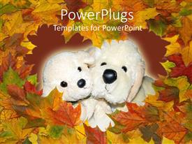 PowerPoint template displaying two hairy white stuffed dolls with lots of autumn leaves