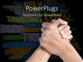 PowerPoint template displaying two hands clasped depicting TRUST with trust related terms in background