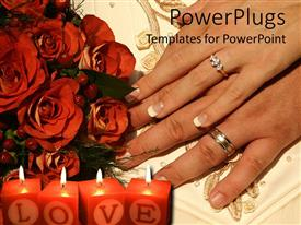 PowerPlugs: PowerPoint template with two hands with engagement ring, wedding bands, burning red candles with word love, bouquet of red roses