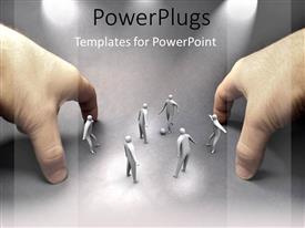 PowerPlugs: PowerPoint template with two hands forming football goals with six white figures playing game on gray background