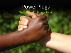 PowerPlugs: PowerPoint template with two hands having a handshake on a blurry background