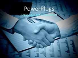 PowerPlugs: PowerPoint template with two hands having a handshake and an open note pad