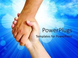 PowerPlugs: PowerPoint template with two hands holding each other on a blue background with light rays and bubbles