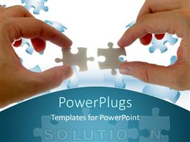 PowerPlugs: PowerPoint template with two hands holding the puzzle pieces