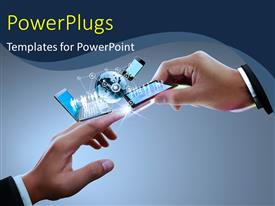PowerPlugs: PowerPoint template with two Hands with laptop, phone, tablet and globe , connectors with the technology