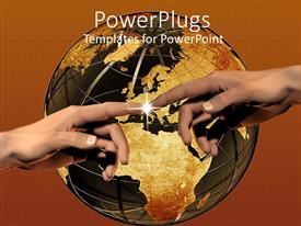 PowerPlugs: PowerPoint template with two hands meeting with light spark, world, globe, Earth