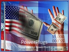 PowerPoint template displaying two hands with a number of dollars