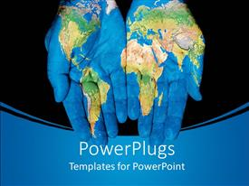 PowerPoint template displaying two hands painted with the plain depiction of the world map