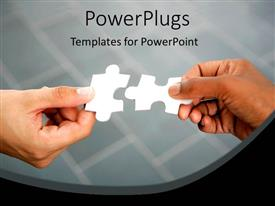 PowerPlugs: PowerPoint template with two hands piecing two white jigsaw puzzle pieces together
