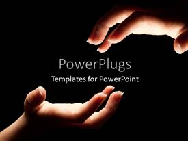 PowerPlugs: PowerPoint template with two hands reaching in the darkness to touch with black color