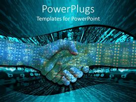PowerPoint template displaying two hands shaking with circuit board overlay and digital display in background