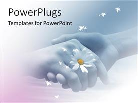 PowerPlugs: PowerPoint template with two hands shaking each other with one holding a flower