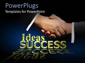 PowerPlugs: PowerPoint template with two hands shaking over a text that spells out the words ' ideas and success'