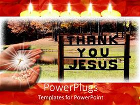 PowerPlugs: PowerPoint template with two hands with shiny rosary and thank you Jesus text