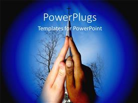 PowerPlugs: PowerPoint template with two hands together with a tree and  a cross