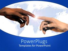 PowerPlugs: PowerPoint template with two hands touching each other with the Earth in the background