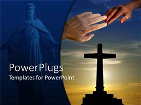 PowerPlugs: PowerPoint template with two hands touching with an image of Jesus and a large cross