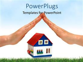 PowerPlugs: PowerPoint template with two hands with a toy house in the middle