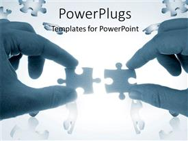 PowerPlugs: PowerPoint template with two hands trying to put together a couple of puzzle pieces with puzzles flying