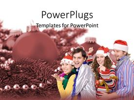PowerPoint template displaying two happy couples celebrating Christmas with Santa hats on Christmas decoration background