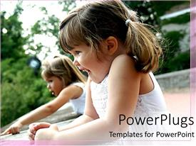 PowerPlugs: PowerPoint template with two happy girls laughing and pointing, children, kids