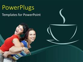 I love this slide deck enhanced with two happy ladies exercising back to back with coffee depiction