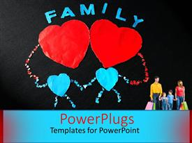 PowerPlugs: PowerPoint template with two hearts with blackish background and the word family