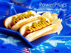 PowerPlugs: PowerPoint template with two hot dogs with bluish background