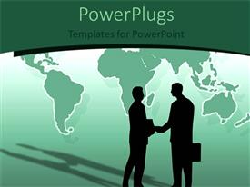 PowerPoint template displaying two human characters with brief cases having a handshake