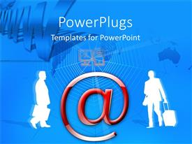 PowerPlugs: PowerPoint template with two human characters holding briefcases and a large @ symbol