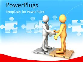PowerPoint template displaying two human figures of different colors standing on puzzle and shaking hands