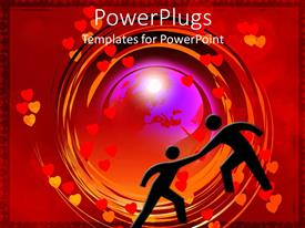 PowerPoint template displaying two human figures portraying lovers dancing on a red love background
