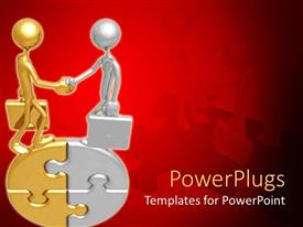 PowerPoint template displaying two human figures standing on a gold and silver puzzle shaking hands