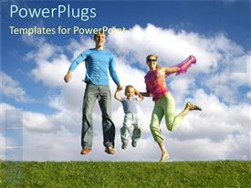 PowerPlugs: PowerPoint template with two humans and a child jumping happily on grass