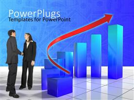 PowerPlugs: PowerPoint template with two humans having a conversation with a red arrow and bars beside them