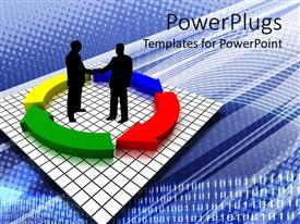 PowerPlugs: PowerPoint template with two humans shaking hands in the middle of a recycle symbol