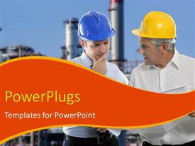 PowerPlugs: PowerPoint template with two industrial engineers with protective helmet over industrial plant