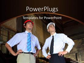 PowerPlugs: PowerPoint template with two industrial engineers wearing protective helmets in old manufacturing building