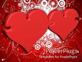 PowerPoint template displaying two interlocking love shaped puzzles linked on red background